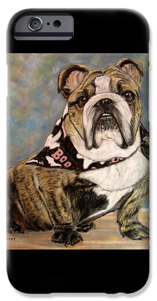 Bulls Pastels iPhone Cases - Pastel English Brindle Bull Dog iPhone Case by Patricia L Davidson
