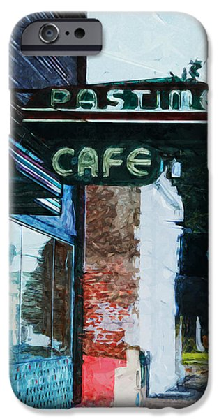 Downtown Mixed Media iPhone Cases - Pastime Cafe- Art by Linda Woods iPhone Case by Linda Woods