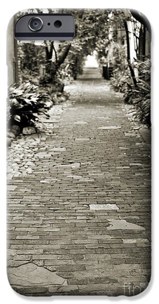 Pathway iPhone Cases - Patchwork Pathway in Sepia AKA Philadelphia Alley iPhone Case by Dustin K Ryan