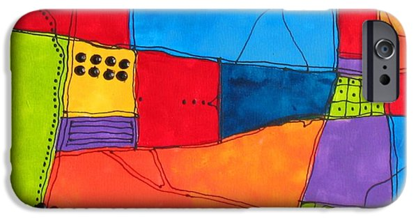 Business Paintings iPhone Cases - Patchwork with Attitude iPhone Case by Louise Adams