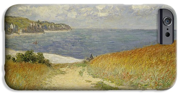 Boat Paintings iPhone Cases - Path in the Wheat at Pourville iPhone Case by Claude Monet