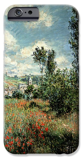 Hill iPhone Cases - Path through the Poppies iPhone Case by Claude Monet