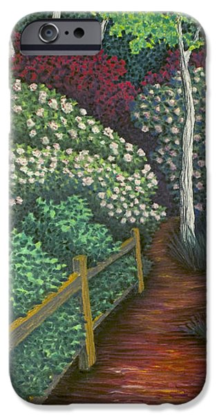 Pathway Pastels iPhone Cases - Pathway Home through Mountain Laurel Blooms iPhone Case by Michele Fritz