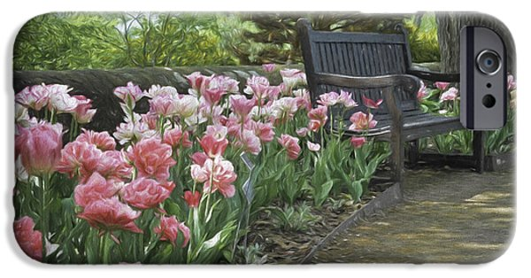 Pathway iPhone Cases - Pathway of Tulips iPhone Case by Deb Barchus