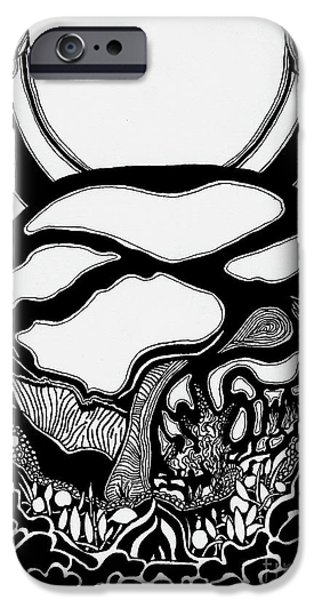 Surreal Landscape Drawings iPhone Cases - Pathway Two iPhone Case by Charles Pulley