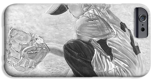 Baseball Uniform Drawings iPhone Cases - Patience iPhone Case by Beloved Portraits Patti Bradeis