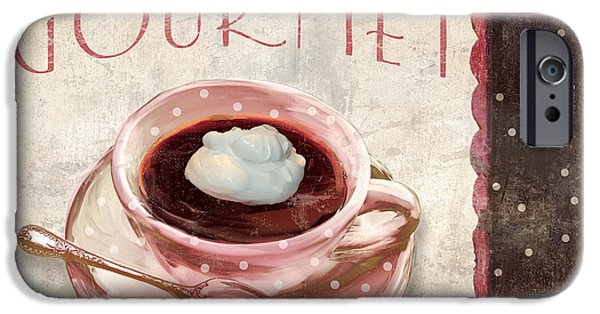 Espresso Paintings iPhone Cases - Patisserie Cafe Gourmet Coffee iPhone Case by Mindy Sommers