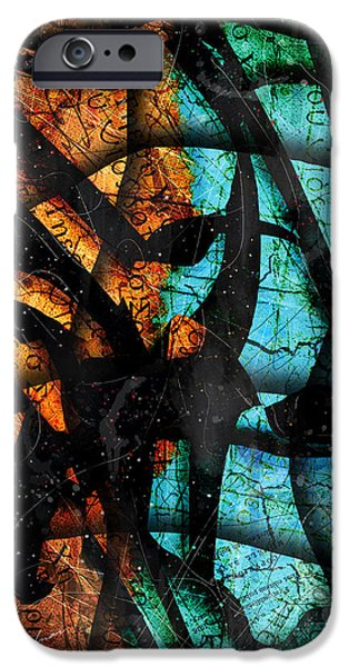 Blue Abstracts iPhone Cases - Patmos iPhone Case by Gary Bodnar