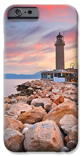 Lighthouse iPhone Cases - patras lighthouse I iPhone Case by Milan Gonda