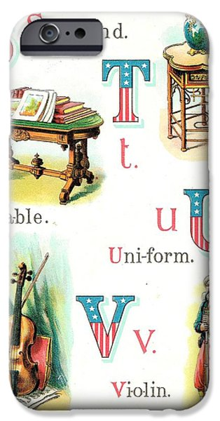 4th July Paintings iPhone Cases - Patriot ABC Book Page Eleven iPhone Case by Reynold Jay