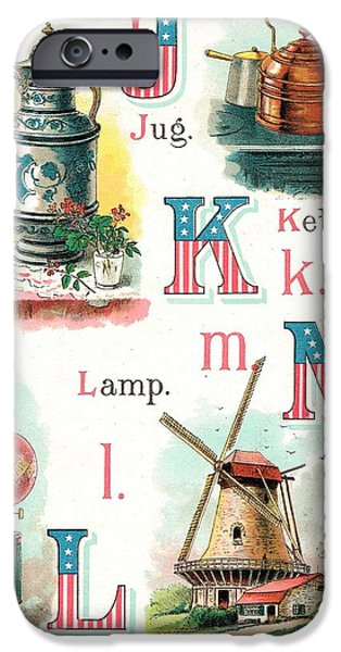 4th July Paintings iPhone Cases - Patriot ABC Book Page Seven iPhone Case by Reynold Jay