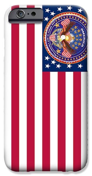 4th July Mixed Media iPhone Cases - Patriotic America Print and Case Only iPhone Case by Bill Campitelle