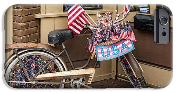 4th July iPhone Cases - Patriotic bike iPhone Case by Cindy Archbell