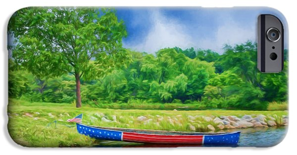 July 4th iPhone Cases - Patriotic Canoe #2 - Red White Blue iPhone Case by Nikolyn McDonald
