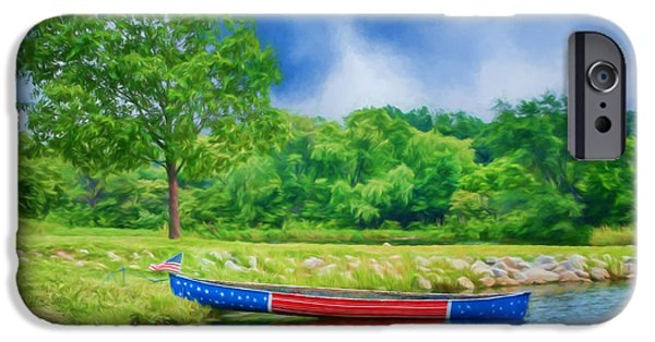 4th July Photographs iPhone Cases - Patriotic Canoe #2 - Red White Blue iPhone Case by Nikolyn McDonald