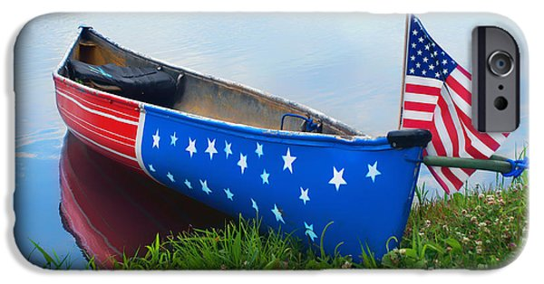 July 4th iPhone Cases - Patriotic Canoe 3 - 4th of July iPhone Case by Nikolyn McDonald