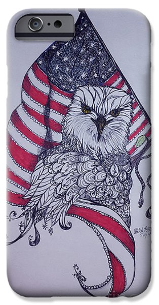 Flag iPhone Cases - Patriotic Eagle iPhone Case by Cheryl Seagraves