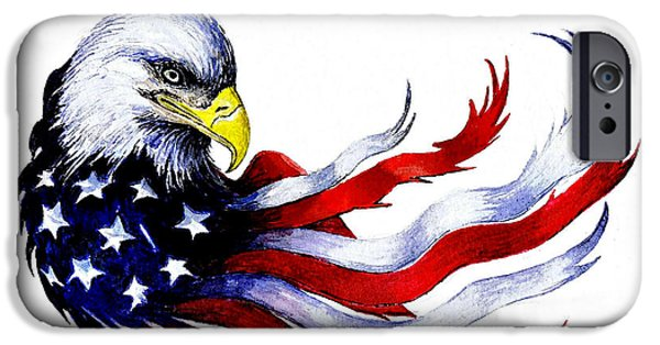4th July Paintings iPhone Cases - Patriotic eagle signed iPhone Case by Andrew Read