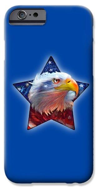 Flag iPhone Cases - Patriotic Eagle Star iPhone Case by Carol Cavalaris
