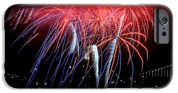 Fourth Of July iPhone Cases - Patriotic Fireworks S F Bay iPhone Case by Brian Tada