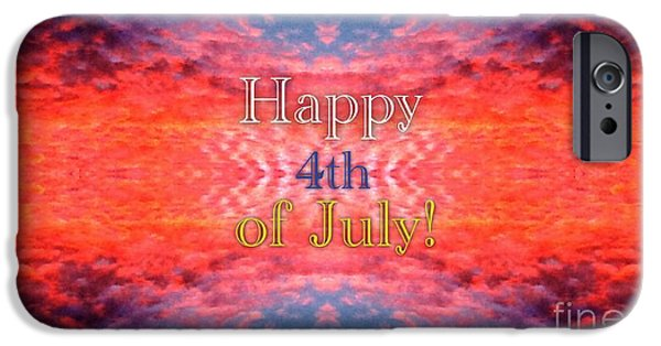 Fourth Of July iPhone Cases - Patriotic Fourth of July Greeting iPhone Case by Kimberlee  Baxter