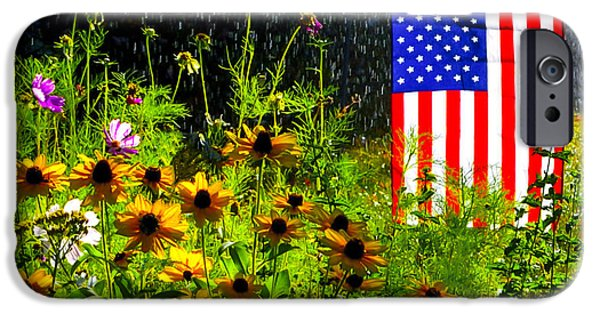 Plant iPhone Cases - Patriotic Garden In Vacaville California iPhone Case by Brian Tada