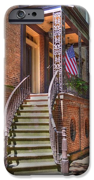 Patriotic Savannah iPhone Cases - Patriotic Jones Street iPhone Case by Linda Covino