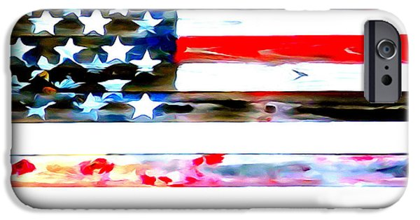 Blue Abstracts iPhone Cases - Patriotic Pop iPhone Case by Ed Weidman