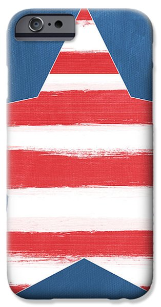 4th July Mixed Media iPhone Cases - Patriotic Star iPhone Case by Linda Woods