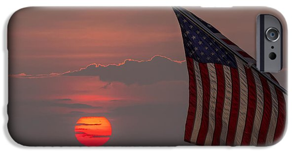 Old Glory iPhone Cases - Patriotic Sunset iPhone Case by Mark Papke