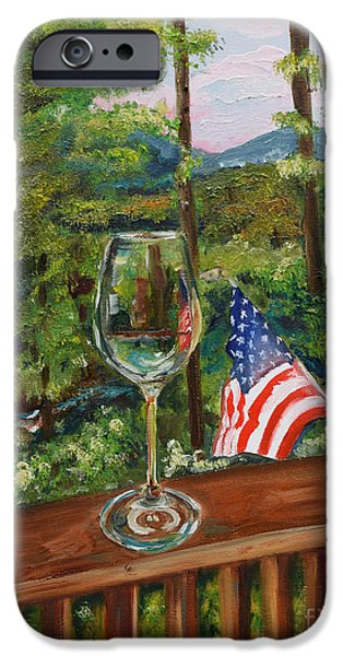 Fourth Of July Paintings iPhone Cases - Star Spangled Wine - Fourth of July - Blue Ridge Mountains iPhone Case by Jan Dappen