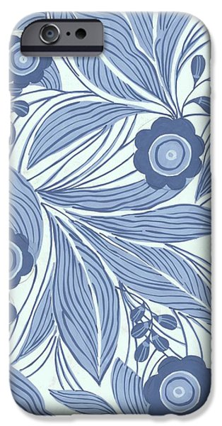 Border iPhone Cases - Pattern With Blue Leaves, Flowers iPhone Case by Gillham Studios