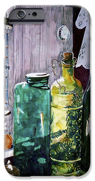 Wine Bottles iPhone Cases - Patts Window iPhone Case by Shirley Sykes Bracken