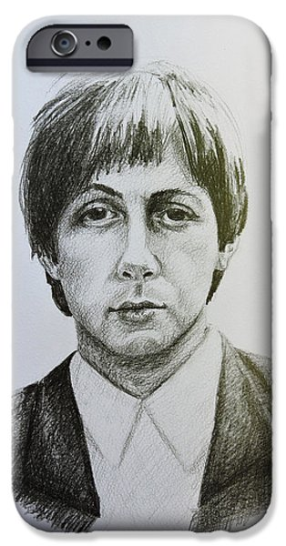 Mccartney Drawings iPhone Cases - Paul McCartney iPhone Case by Carina Povarchik