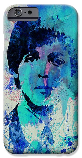 Portrait Paintings iPhone Cases - Paul McCartney iPhone Case by Naxart Studio
