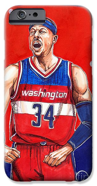 Paul Pierce iPhone Cases - Paul Pierce Washington Wizards iPhone Case by Dave Olsen