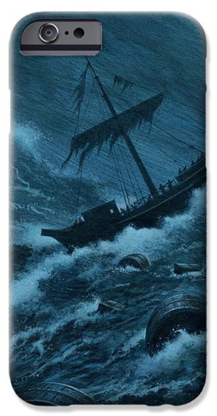 Sailing iPhone Cases - Pauls Storm Tossed Ship iPhone Case by Rob Wood