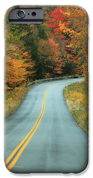 Autumn iPhone Cases - Paved Road Winding Through Autumn Trees iPhone Case by Ink and Main