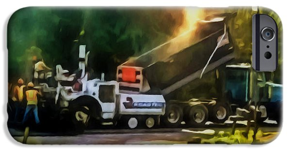 Recently Sold -  - Asphalt iPhone Cases - Pavement machine laying fresh asphalt  on top of the gravel base during highway construction iPhone Case by Lanjee Chee