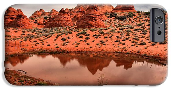 Holes In Sandstone iPhone Cases - Paw Hole Oasis iPhone Case by Adam Jewell