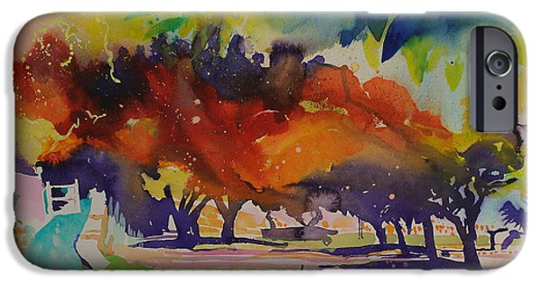 Cosmic Paintings iPhone Cases - Paysage de ragondin iPhone Case by Simon Fletcher
