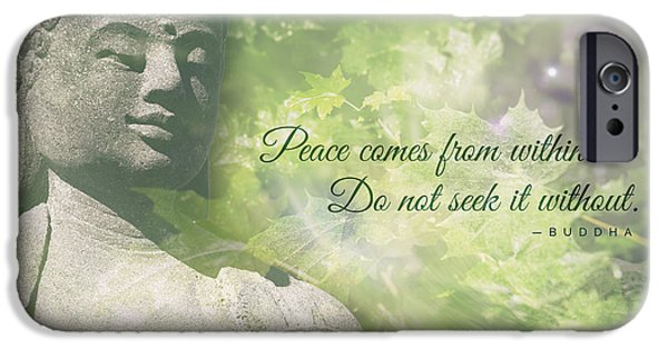 Tibetan Buddhism iPhone Cases - Peace Comes from Within iPhone Case by Jamie Tipton