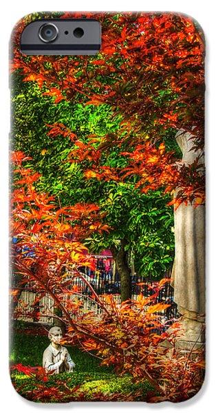 Boston Fall Scenes iPhone Cases - Peace Garden - St Leonards Church - Boston iPhone Case by Joann Vitali