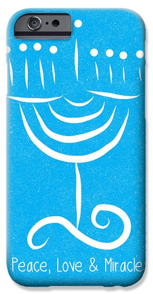 Miracle iPhone Cases - Peace Love and Miracles with Menorah iPhone Case by Linda Woods