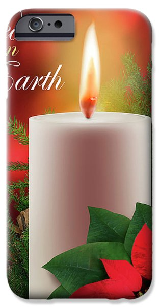Christmas Greeting iPhone Cases - Peace on Earth iPhone Case by Stan  Coffman
