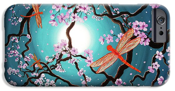 Surreal Landscape iPhone Cases - Peace Tree with Orange Dragonflies iPhone Case by Laura Iverson