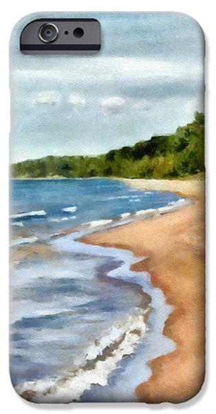 Michelle iPhone Cases - Peaceful Beach at Pier Cove ll iPhone Case by Michelle Calkins