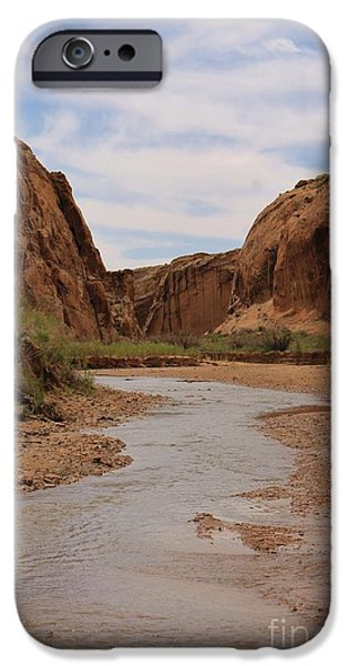 Slickrock iPhone Cases - Peaceful Canyon View 3 iPhone Case by Tonya Hance