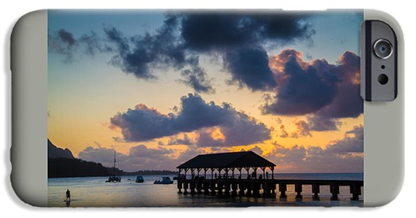 Ocean Sunset iPhone Cases - Peaceful Evening at Hanalei Pier iPhone Case by Roger Mullenhour
