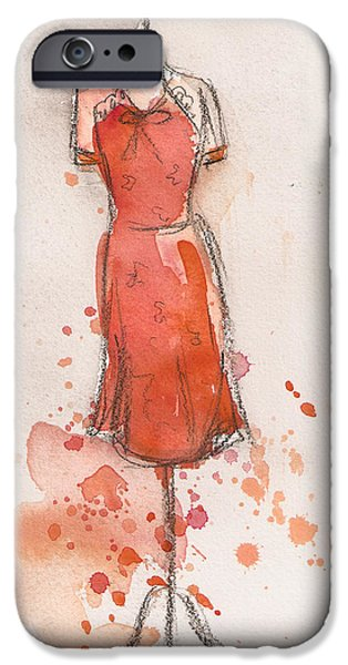 Tangerine Paintings iPhone Cases - Peach and Orange Dress iPhone Case by Lauren Maurer